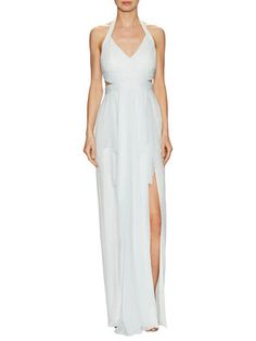 Chiffon Draped Halter Maxi Gown by Marchesa Notte at Gilt