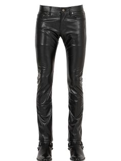 17.5cm Stretch Faux Leather Jeans