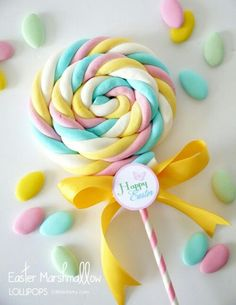 DIY Marshmallow Lollipops & Free Easter Tags - learn to make marshmallow sweet treats for your party, celebrations or gift and favors! Birthday Treats, Party Treats, Unicorn Birthday Parties, Unicorn Party, Party Favors, Birthday Gifts, Cake Party, 9th Birthday, Party Party