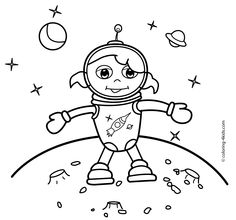 Spaceman girl coloring pages for kids on the moon, printable free