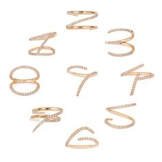 Sarah Ho Numerati Rings in 18ct rose gold with diamonds (circle) smaller
