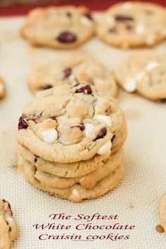 the softest white chocolate craisin cookies ever! ohsweetbasil.com