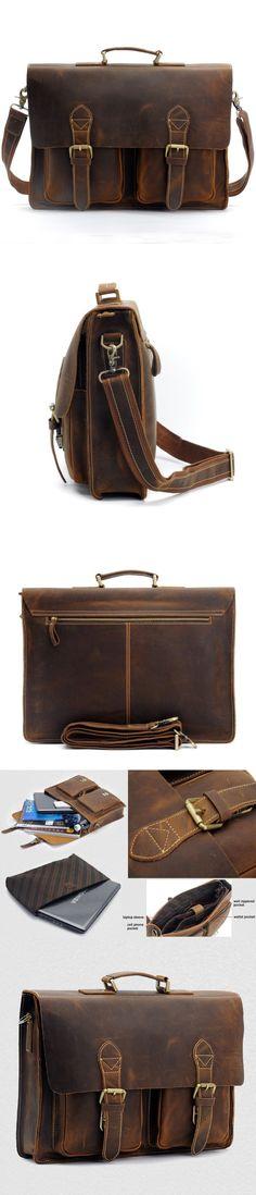 15″ Men's Leather Briefcase Handmade Leather Messenger Bag Laptop Bag Business Bag For Men Leather Messenger Bag