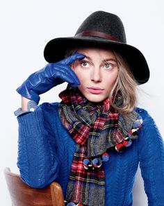 J.Crew women's perfect cable sweater, wide-brimmed felt hat with leather band, Italian leather gloves and plaid pom-pom scarf.