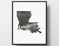 Louisiana State Outline Watercolor  -  Typography Printable Download