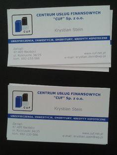 Wizytówki dla  przedstawiciela firmy CUF. Inne projekty wizytówek - http://www.13design.pl/realizacje-wizytowki/