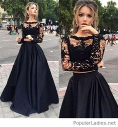 Wonderful two pieces dress from lace on black