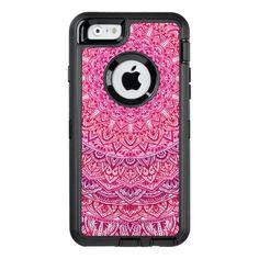 #Pink Zen Mandala Pretty boho lace OtterBox Defender iPhone Case - #girly #iphone #cases