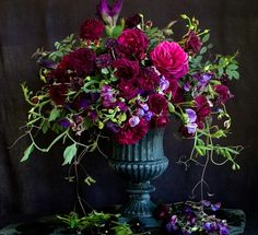 Florali, Jewel toned floral arrangement wiith burgundy, purple and hot pink flow. - Florali, Jewel toned floral arrangement wiith burgundy, purple and hot pink flowers - Beautiful Flower Arrangements, Wedding Flower Arrangements, Floral Centerpieces, Beautiful Flowers, Wedding Flowers, Tall Centerpiece, Wedding Centerpieces, Fall Floral Arrangements, Purple Wedding