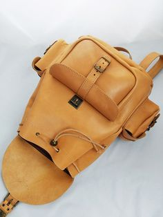Handmade Nude Light Brown Leather Backpack  Genuine by Leatherhood