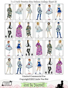 1960's vintage fashion collage. Perfect for your altered art! This is for one 8.5 x 11 inch sheet of 1 x 2 inch domino-sized images. There are 8 different fashions per sheet with 3 of each for a total of 24 images. Each fashion figure measures approximately 1 x 2 inches. The sheet is available as a downloadable PDF and JPEG. These are high resolution images saved at 300 dpi. (1357) $3.00