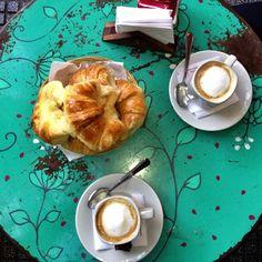 Last day in BA.. Enjoying some Cafe con leche y dulce medialunas :)