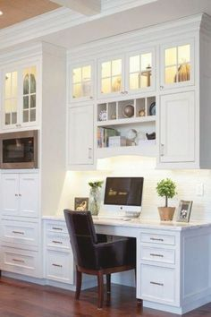 Kitchen Office Nook, Kitchen Desks, New Kitchen Cabinets, Built In Cabinets, Filing Cabinets, Ikea Kitchen, Kitchen Shelves, Kitchen Tips, Kitchen Desk Areas