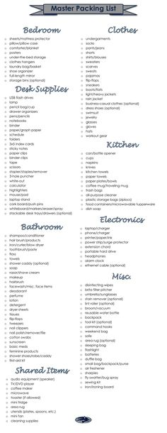 I compiled college packing pins for a year and a half, so I decided to use all of that info and my own ideas to make a Master Packing List. (It's University of Nevada, Reno themed because that's where I'm… Continue Reading → College Dorm Checklist, College Packing Lists, Apartment Checklist, College List, College Essentials, College Hacks, College Dorm Rooms, College Fun, Boarding School Packing List