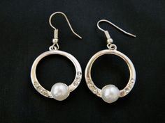 Geometric Circle Hoop Earrings Rhinestone Faux Pearl Retro Costume Jewelry #Hoop