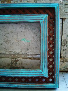 Picture Frame Turquoise Distressed Lattice by turquoiserollerset, $36.00