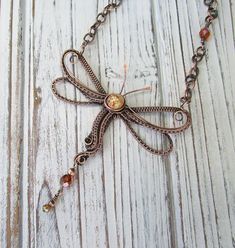 Dragonfly in Amber Wire Wrapped Copper by FearlessCreationsbyJ