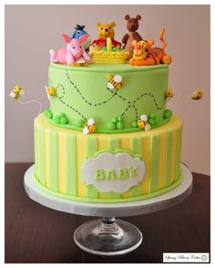 Winnie the Pooh and friends - Cake by Spring Bloom Cakes Baby Shower Desserts, Baby Shower Cakes, Pretty Cakes, Cute Cakes, Winnie The Pooh Cake, Cupcakes Decorados, Friends Cake, Disney Cakes, Fancy Cakes