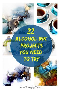 22 Alcohol Ink Projects - that you need to try! So many great ways to use alcohol ink. Painting, ceramics, jewelry, tiles, so - Alcohol Ink Tiles, Alcohol Ink Glass, Alcohol Ink Crafts, Alcohol Ink Painting, Sharpie Alcohol, Alcohol Ink Jewelry, Zealand Tattoo, Copics, Resin Art