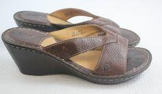 BORN Women's Brown Leather Wedges Open Toe Platform Slides  Size 9 / 40.5 #Brn #PlatformsWedges #Casual