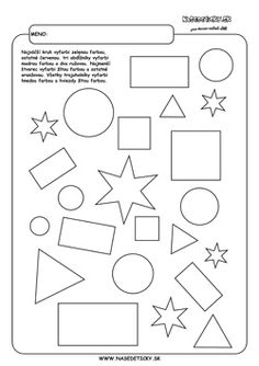 Geometrické tvary - farby. Worksheets For Kids, Printable Worksheets, Activities For Kids, Diagram, Shapes, Beehive, Education, Maths, Creative