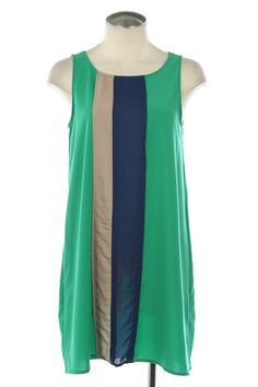 Vertical Color Block Dress. Simple and pretty. Would be great with a skinny gold belt!