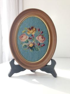 Vintage Needlepoint Art with Pink and Yellow by EncoreVintageDecor, $15.00