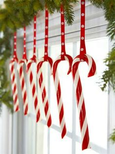Candy cane window with green garland