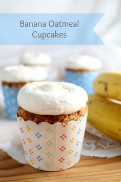 Banana Oatmeal Cupcakes with Cream Cheese Frosting. Banana Bread in cupcake form.