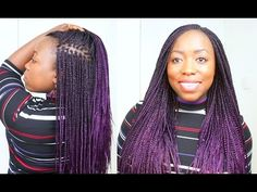 How to Box Braid Your Own Hair feather Tips and Seal Box Braids Ends Protective Style - YouTube