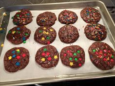 BROWNIE CHIP COOKIES  1 box brownie mix 1 c. chocolate chips 2 eggs 1/4 c. oil Preheat oven to 350 degrees. Grease cookie sheets. Combine mix, eggs,, and oil in large bowl. Beat about 50 strokes by hand. Stir in chips. Drop by rounded teaspoon on baking sheets. Bake 8 to 10 minutes. Cookies are soft to touch. Cool slightly before removing from baking sheet.