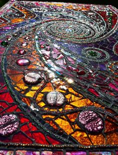 Mosaic table 'light box' spiral mosaic art by Inspirall on Etsy,,, Christmas is coming!!!