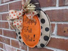 Fall Burlap Pumpkin Door Hanger by AllStitchedUpbyJill on Etsy