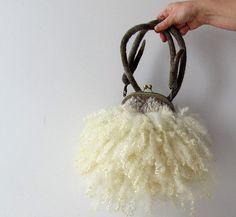 Fur purse Felted handbag Grey Real  Fur curly locks purse raw wool  Free curly bag gift for her by Galafilc