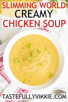 A delicious and creamy Slimming World chicken soup that's so easy to make in the soup maker, pan or slow cooker. AND it's Syn Free :D cooker recipe slimming world Slimming World Chicken Soup Maker Recipe - Syn Free & Creamy - Tastefully Vikkie Slimming World Soup Recipes, Slimming World Speed Food, Slimming World Lunch Ideas, Slimming World Dinners, Slimming Eats, Slow Cooker Slimming World, Slimming World Free Foods, Speed Soup, Veggie Soup Recipes