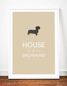 Dachshund print poster art illustration sausage dog typography, $29