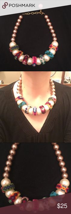 Anthropologie pearl statement necklace Unique necklace to add some fun to any outfit! Large, oversized pearls with colorful rope detailing. Make an offer, save by bundling, start accessorizing! Anthropologie Jewelry Necklaces