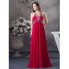 Custom Made Vestidos De Noche Red Chiffon Beading Crystal Sexy Evening Dress Vestido Longo