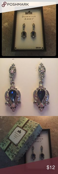 Downton Abbey Collection Vintage-Inspired Earrings Downton Abbey Collection silver tone earrings with deep blue rhinestones. Adds a fun, vintage 1910s-1920s look to any wardrobe! Downton Abbey Jewellery Jewelry Earrings
