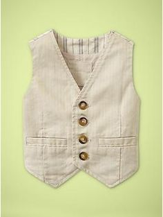 Love this GAP boys contrast pinstriped vest love the row of horn buttons color forming darts all of it <3