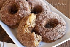 Apple Cinnamon Sugar Donut Muffins:  moist, tender, better-for-you, baked donuts are loaded with triple apple flavor. Chucks of dried apple are simmered in apple juice until they're plumb and juicy. Applesauce is also added to the batter to create another layer of appley deliciousness.