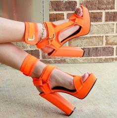 Shoes Sandals, Dress Shoes, Platform High Heels, Sandals Platform, Cheap High Heels, Metal Buckles, Chunky Heels, Color Mixing