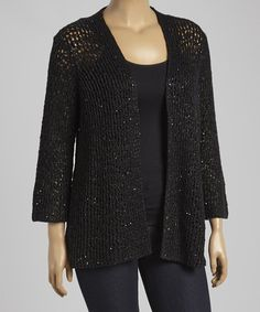 Love this Black Mesh Open Cardigan - Plus by Chelsea & Theodore on #zulily! #zulilyfinds