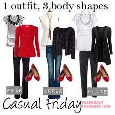 Try this Casual Friday outfit idea of T-shirt, cardigan and denim with options to fit your body type, whether you're a pear, apple or flute shape. Apple Shape Outfits, Apple Shape Fashion, Apple Body Shapes, Friday Outfit, Fashion Silhouette, Autumn Winter Fashion, Couture, Fashion Forward, What To Wear