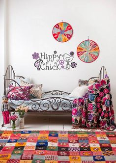 """""""Hippy Chick"""" wall decal with a birdie in boots and paisley embellished vinyl designs. Check out more at www.lacybella.com"""