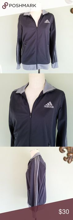 Adidas Training Track Jacket Gray Adidas. Men's Medium. Training Track Jacket. Dark gray / light gray trim. 3 stripes down the arms.  Full zip up front.  Zipper pockets. Excellent condition! Perfect for an oversized fit for women! adidas Jackets & Coats Performance Jackets