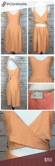 """[Anthropologie] Rolo Crossback Dress Peach Frock Open back jacquard knit frock by Postmark from Anthropolgie. Stripe pattern with rope and chain links. Pullover style. Elastic waist back. Soft and stretchy. Peachy orange color. Last photo shows fit, not color.  🔹Fabric: Cotton Polyester Spandex  🔹Bust: 18"""" 🔹Waist: 15"""" 🔹Length: 39"""" 🔹Condition: EUC. No flaws. Anthropologie Dresses"""