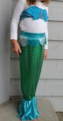 Homemade Mermaid Costume. Your little girl will love dressing up for Halloween in this Homemade Mermaid Costume. The tail is easy to walk in, turns into a cute skirt and this pattern also has a bandeau shell top. She'll never want to take off this homemade Halloween costume.
