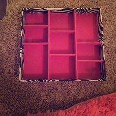 Jewelry organizer Pink and zebra jewelry organizer, eye shadow discoloring in one section. Other