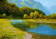Daum 블로그 - 이미지 원본보기 Nature Paintings, Landscape Paintings, Landscape Pictures, Modern Landscaping, Berg, Art World, Impressionism, Cool Art, Nature Photography